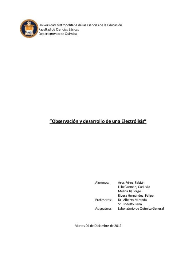 """Universidad Metropolitana de las Ciencias de la EducaciónFacultad de Ciencias BásicasDepartamento de Química       """"Observ..."""