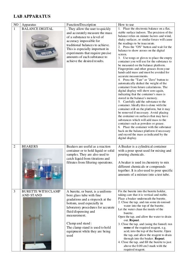 LAB APPARATUS NO Apparatus Function/Description How to use 1 BALANCE DIGITAL . They allow the user to quickly and accurate...