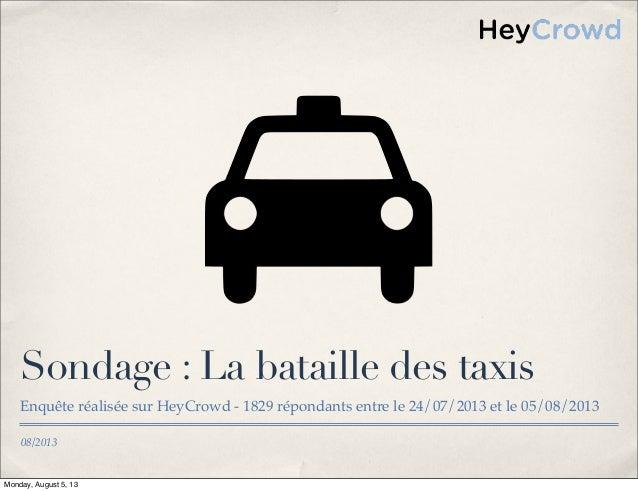 08/2013 Sondage : La bataille des taxis Enquête réalisée sur HeyCrowd - 1829 répondants entre le 24/07/2013 et le 05/08/20...