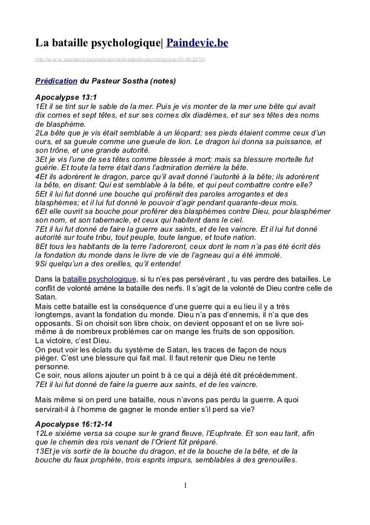 La bataille psychologique| Paindevie.behttp://w w w .paindevie.be/predications/la-bataille-psychologique-01-06-2010/Prédic...