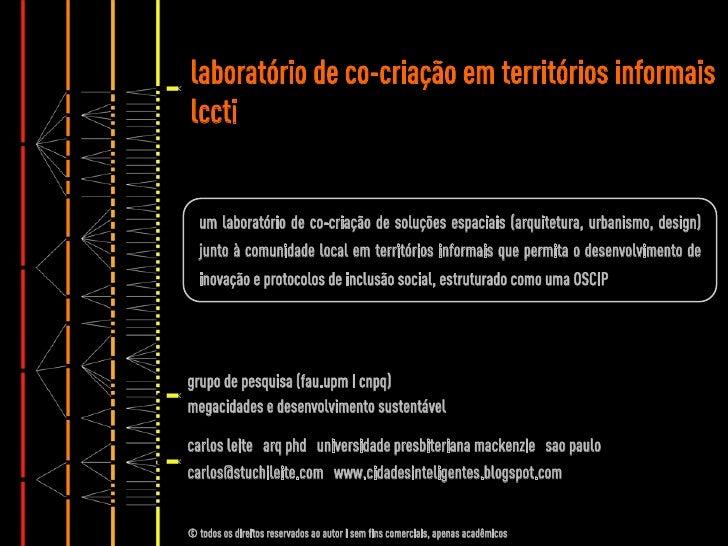 laboratório de co-criação em territórios informaislccti  um laboratório de co-criação de soluções espaciais (arquitetura, ...