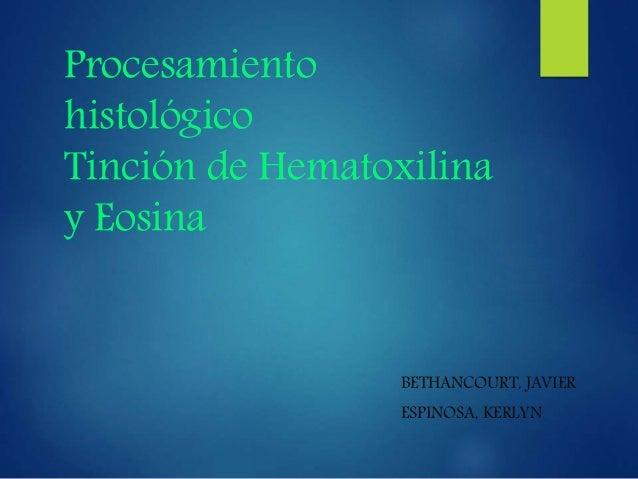 Procesamiento histológico Tinción de Hematoxilina y Eosina BETHANCOURT, JAVIER ESPINOSA, KERLYN