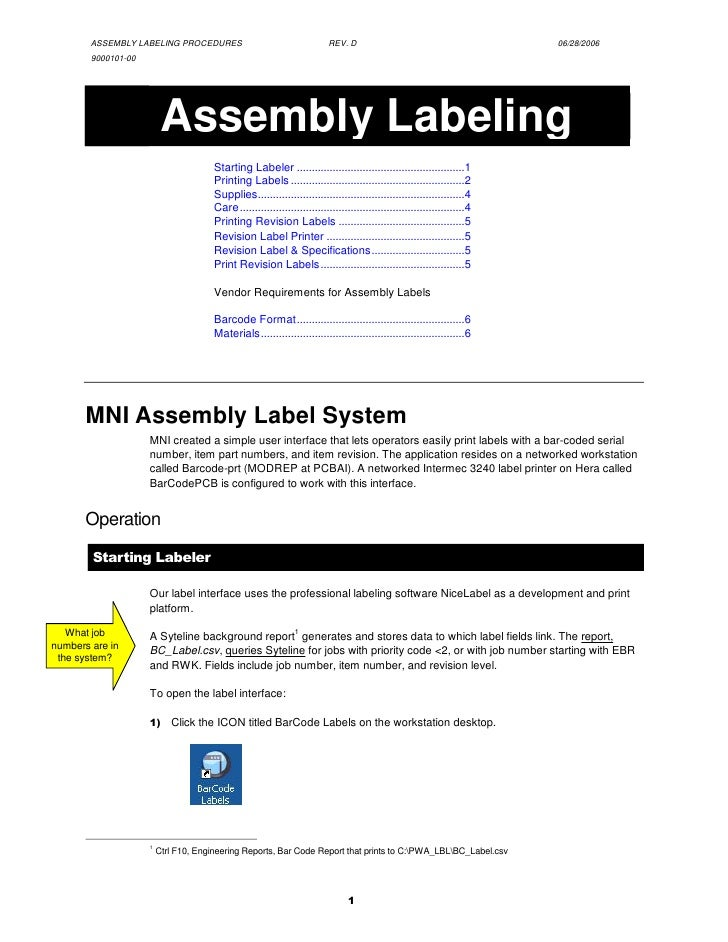 ASSEMBLY LABELING PROCEDURES                                      REV. D                                          06/28/20...