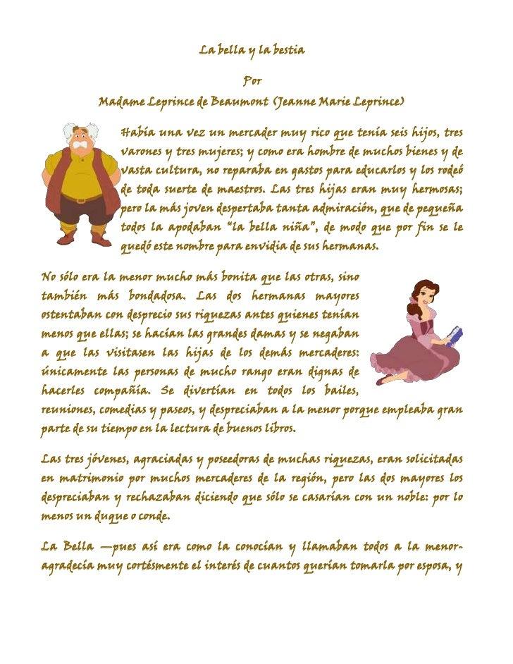 La bella y la bestia<br />Por<br />Madame Leprince de Beaumont (Jeanne Marie Leprince)<br />49517302481580left123825Había ...