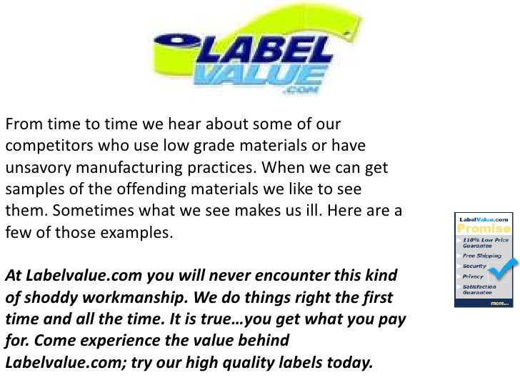 From time to time we hear about some of our competitors who use low grade materials or have unsavory manufacturing practic...