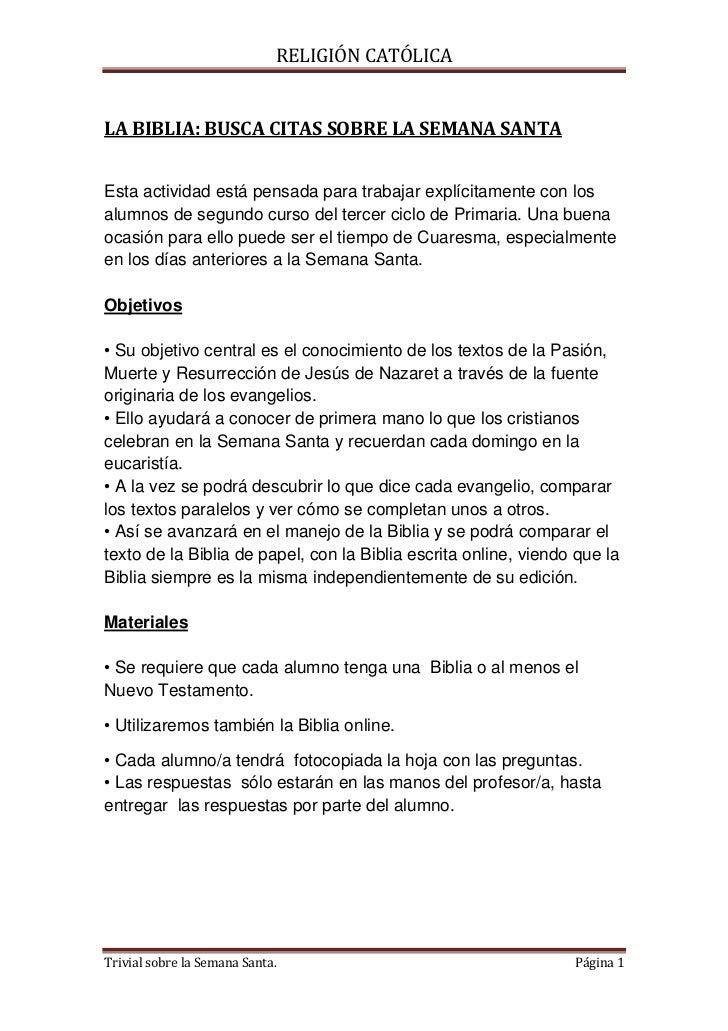 RELIGIÓN CATÓLICALA BIBLIA: BUSCA CITAS SOBRE LA SEMANA SANTAEsta actividad está pensada para trabajar explícitamente con ...