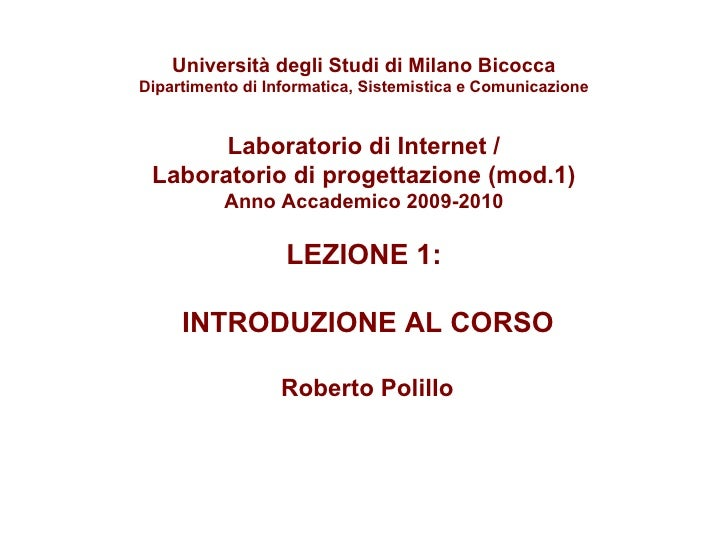 Laboratorio Internet: 1. Introduzione