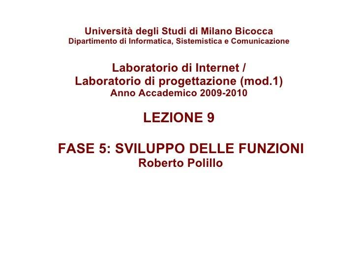 Laboratorio internet 9: Sviluppo delle funzioni