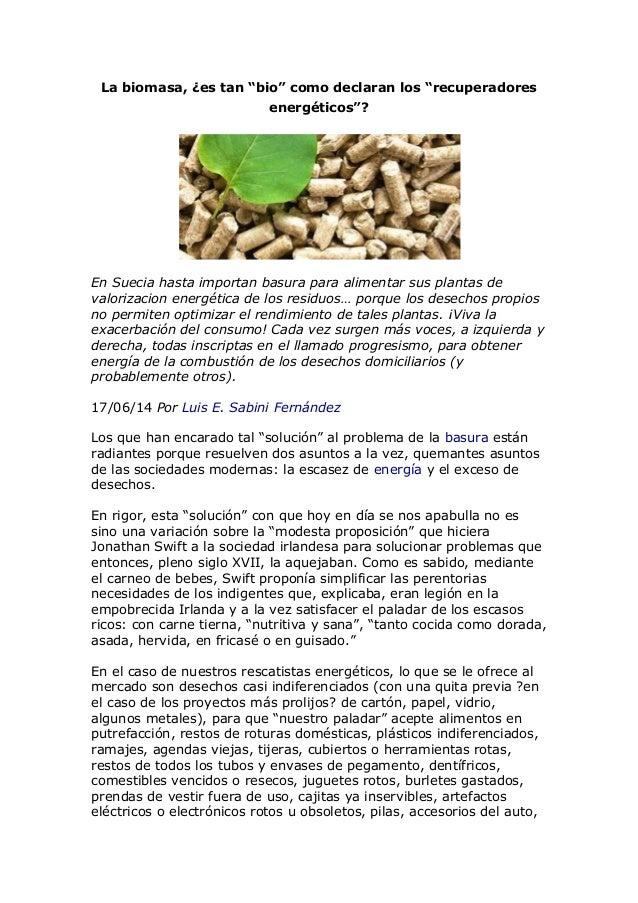"""La biomasa, ¿es tan """"bio"""" como declaran los """"recuperadores energéticos""""?"""