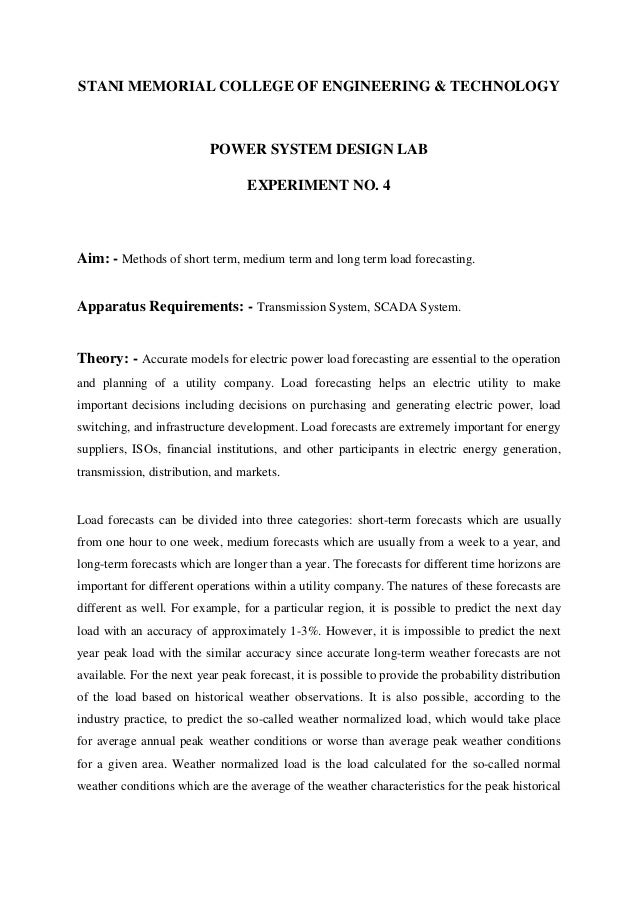 STANI MEMORIAL COLLEGE OF ENGINEERING & TECHNOLOGY  POWER SYSTEM DESIGN LAB EXPERIMENT NO. 4  Aim: - Methods of short term...