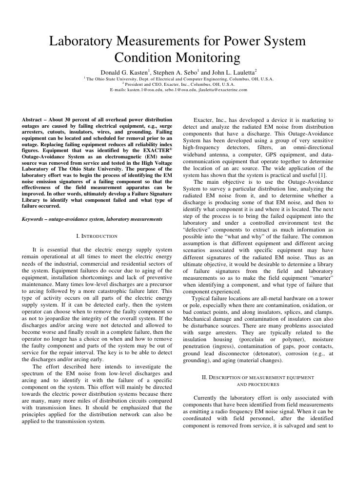Laboratory Measurements for Power System                     Condition Monitoring                                     Dona...