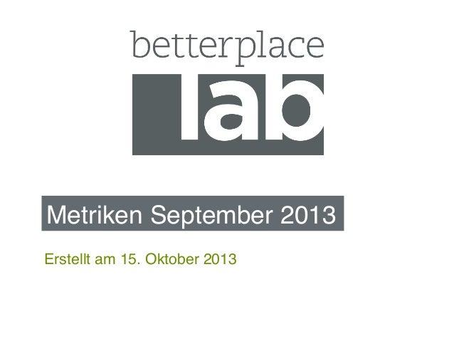 Metriken September 2013! Erstellt am 15. Oktober 2013!