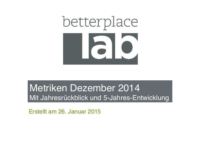 """Metriken Dezember 2014 Mit Jahresrückblick und 5-Jahres-Entwicklung """" Erstellt am 26. Januar 2015"""""""