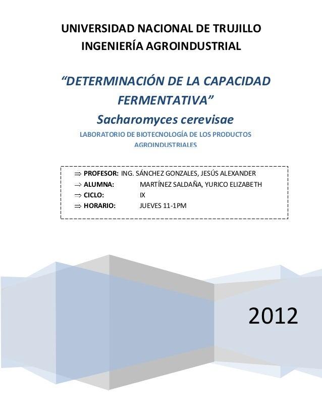 """UNIVERSIDAD NACIONAL DE TRUJILLO   INGENIERÍA AGROINDUSTRIAL""""DETERMINACIÓN DE LA CAPACIDAD        FERMENTATIVA""""     Sachar..."""