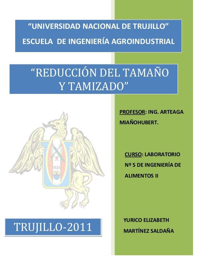 """""""UNIVERSIDAD NACIONAL DE TRUJILLO"""" ESCUELA DE INGENIERÍA AGROINDUSTRIAL  """"REDUCCIÓN DEL TAMAÑO Y TAMIZADO"""" PROFESOR: ING. ..."""