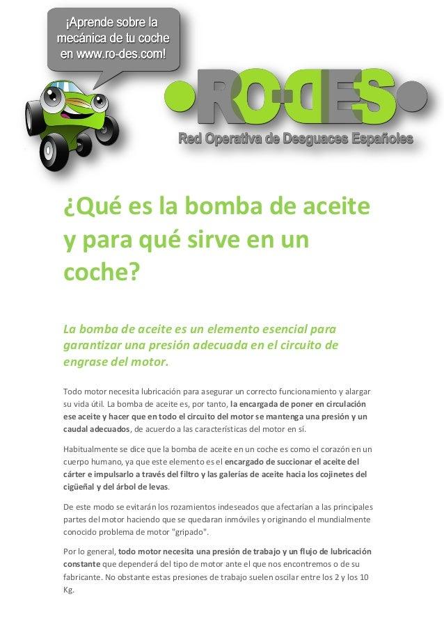 La bomba de aceite qué es y cómo funciona en un coche