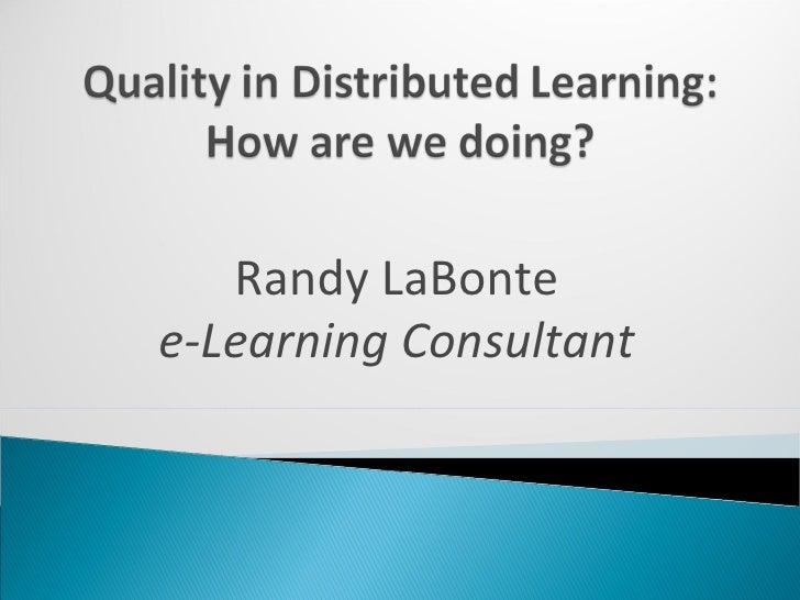 Randy LaBonte e-Learning Consultant
