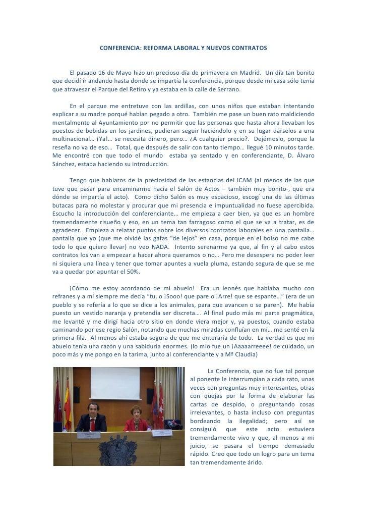 CONFERENCIA SOBRE LA REFORMA LABORAL