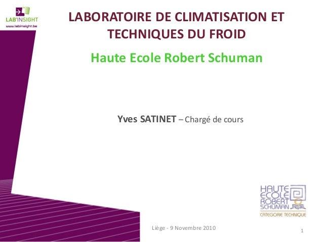 LABORATOIREDECLIMATISATIONET TECHNIQUESDUFROID HauteEcoleRobertSchuman YvesSATINET – Chargédecours Liège‐ 9N...