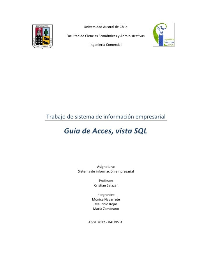 Universidad Austral de Chile       Facultad de Ciencias Económicas y Administrativas                     Ingeniería Comerc...
