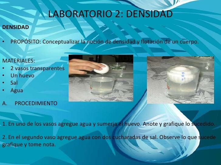 LABORATORIO 2: DENSIDAD<br />DENSIDAD<br />PROPÓSITO: Conceptualizar la noción de densidad y flotación de un cuerpo.<br />...