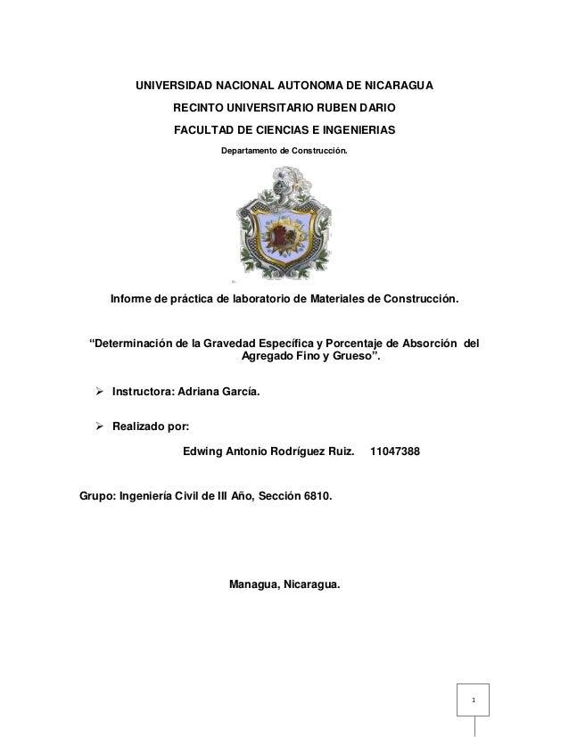 1  UNIVERSIDAD NACIONAL AUTONOMA DE NICARAGUA  RECINTO UNIVERSITARIO RUBEN DARIO  FACULTAD DE CIENCIAS E INGENIERIAS  Depa...