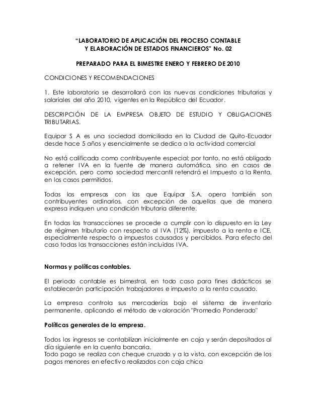 """""""LABORATORIO DE APLICACIÓN DEL PROCESO CONTABLE Y ELABORACIÓN DE ESTADOS FINANCIEROS"""" No. 02 PREPARADO PARA EL BIMESTRE EN..."""