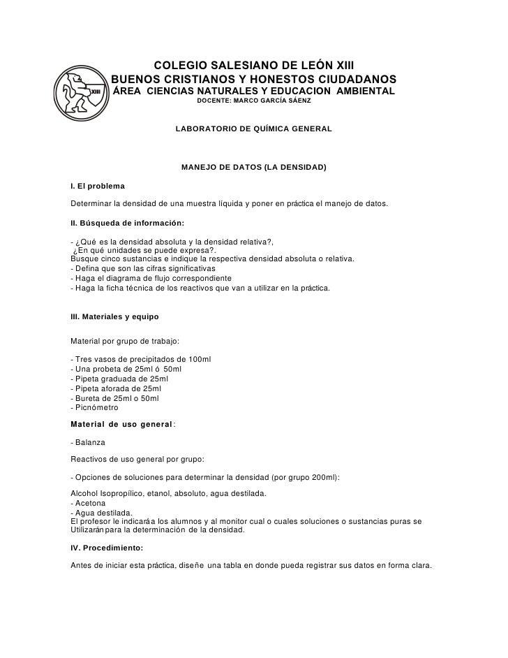 Laboratorio de química general práctica no. 2 densidad marco