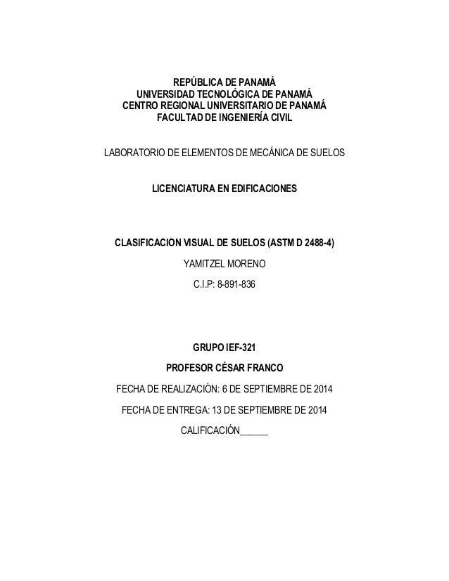 REPÚBLICA DE PANAMÁ  UNIVERSIDAD TECNOLÓGICA DE PANAMÁ  CENTRO REGIONAL UNIVERSITARIO DE PANAMÁ  FACULTAD DE INGENIERÍA CI...