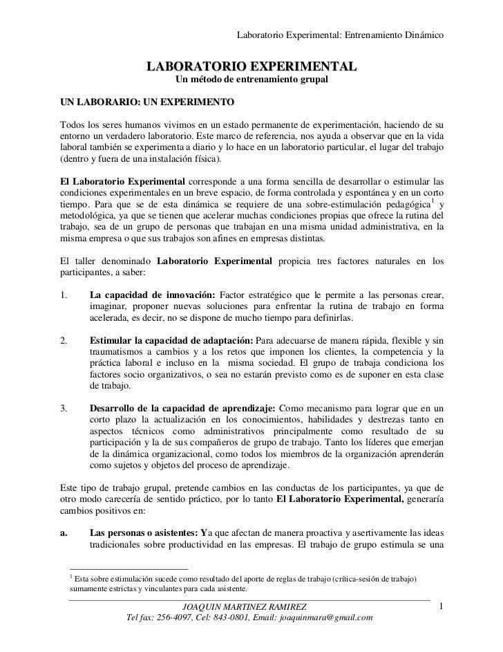 Laboratorio Experimental: Entrenamiento Dinámico                            LABORATORIO EXPERIMENTAL                      ...