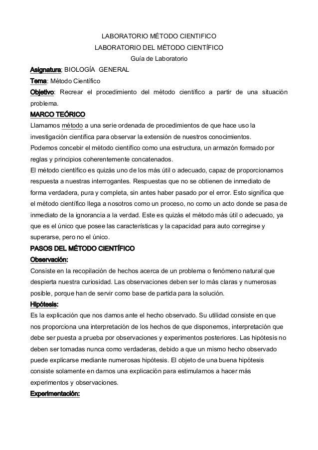 LABORATORIO MÉTODO CIENTIFICO                      LABORATORIO DEL MÉTODO CIENTÍFICO                                   Guí...