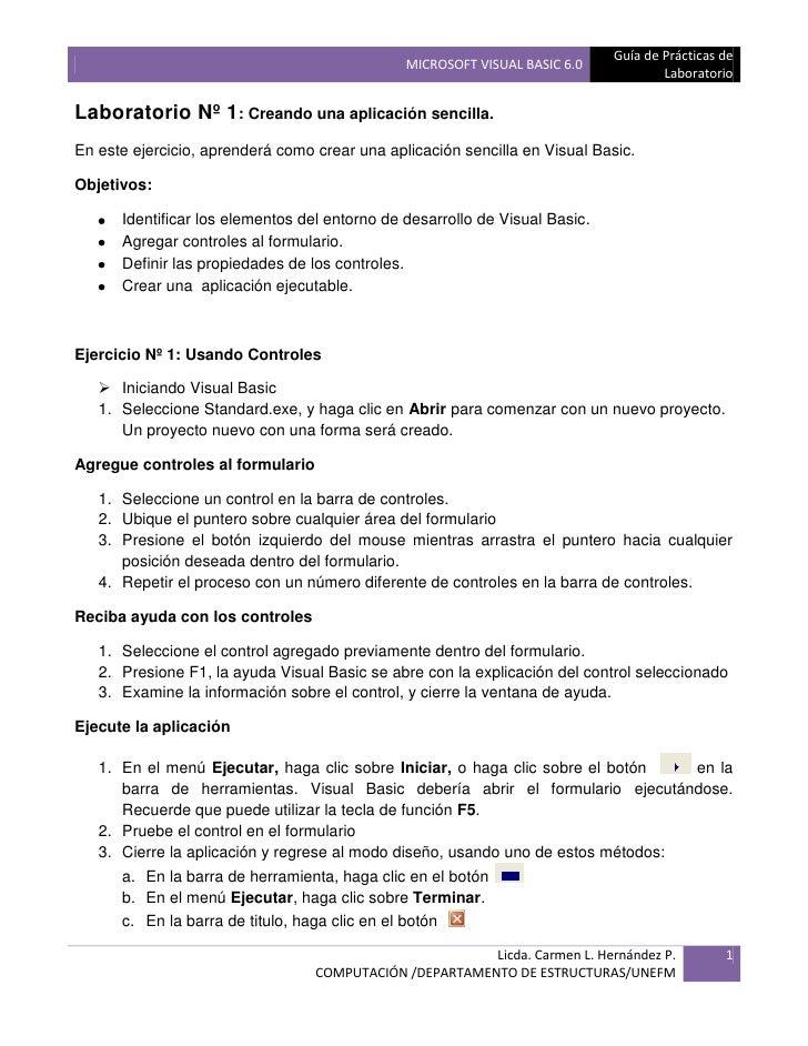 Guía de Prácticas de                                                MICROSOFT VISUAL BASIC 6.0                            ...