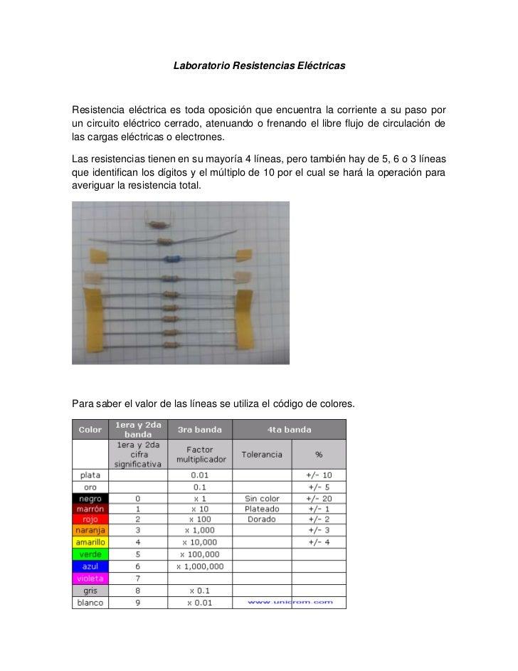 Laboratorio Resistencias EléctricasResistencia eléctrica es toda oposición que encuentra la corriente a su paso porun circ...