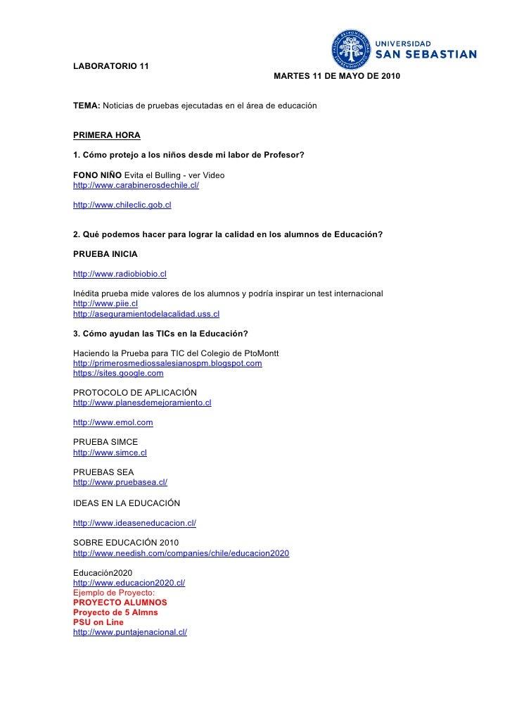 LABORATORIO 11                                                      MARTES 11 DE MAYO DE 2010   TEMA: Noticias de pruebas ...