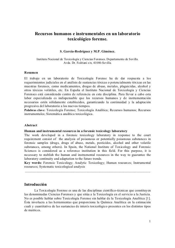 Laboratorio toxicologia forense