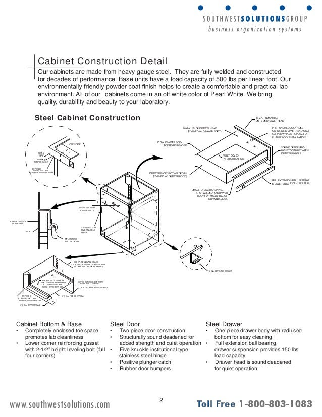 Cabinet Construction Details : Stainless steel laboratory storage