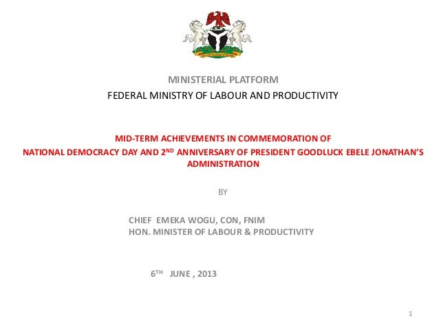 MINISTERIAL PLATFORMFEDERAL MINISTRY OF LABOUR AND PRODUCTIVITYMID-TERM ACHIEVEMENTS IN COMMEMORATION OFNATIONAL DEMOCRACY...