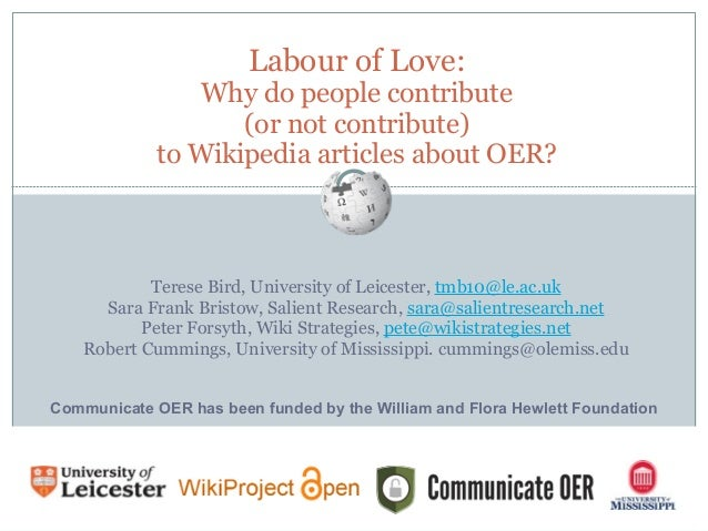 Labour of Love: Why do people contribute, or not contribute, to Wikipedia articles about OER?