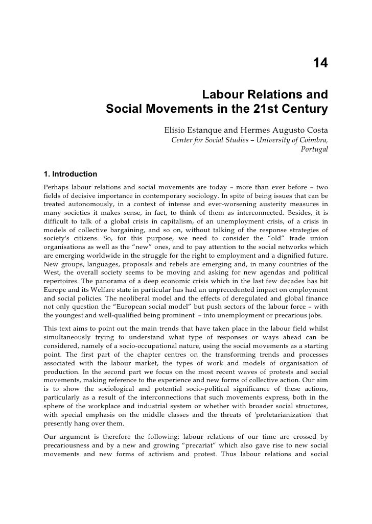 14                                  Labour Relations and                    Social Movements in the 21st Century          ...
