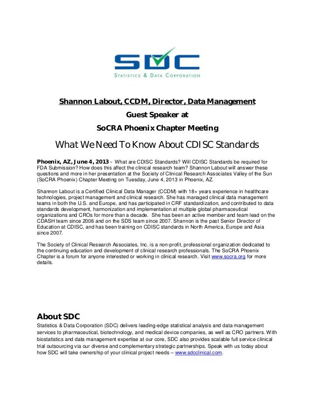What We Need To Know About CDISC - Shannon Labout at SoCRA Phoenix Meeting 6-4-2013