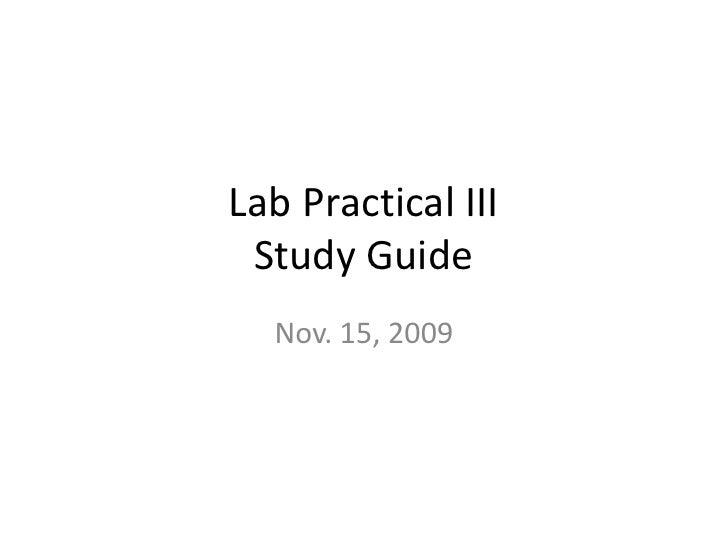 Lab Practical III  Study Guide   Nov. 15, 2009