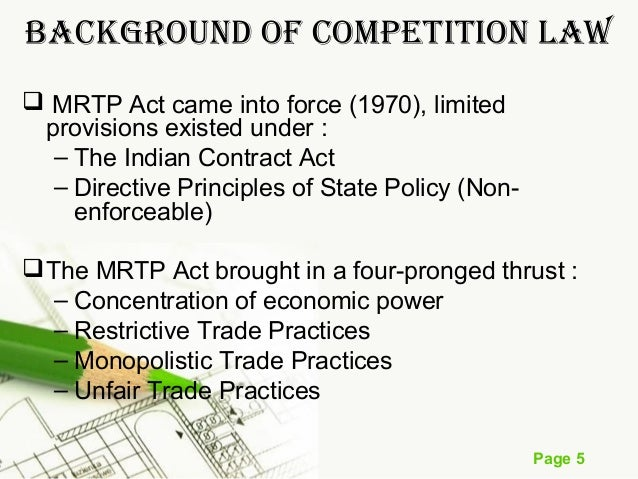 cases on the mrtp act English courts subsequently decided a range of cases which sherman act enforcement of competition law has been based on practices act (mrtp.