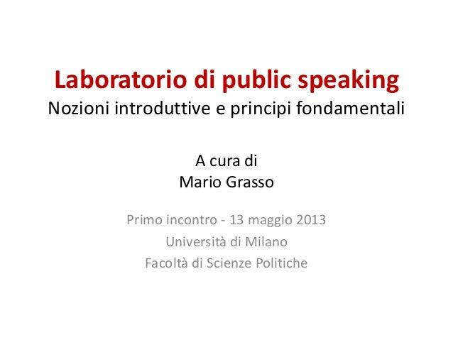 Public speaking: Nozioni introduttive e principi fondamentali