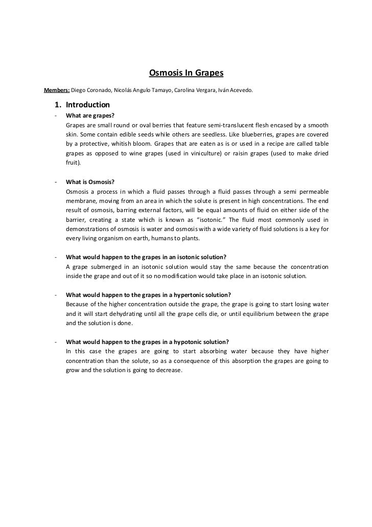 potato osmosis lab report Extracts from this document introduction shreya shah ibd year 11 biology lab report: osmosis title: osmosis in a potato chip aim: to investigate the effect of.