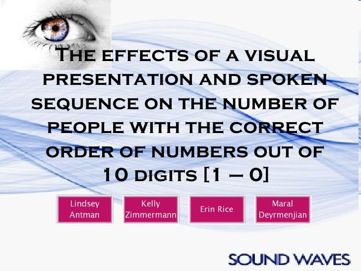 The effects of a visual presentation and spoken sequence on the number of people with the correct order of numbers out of ...