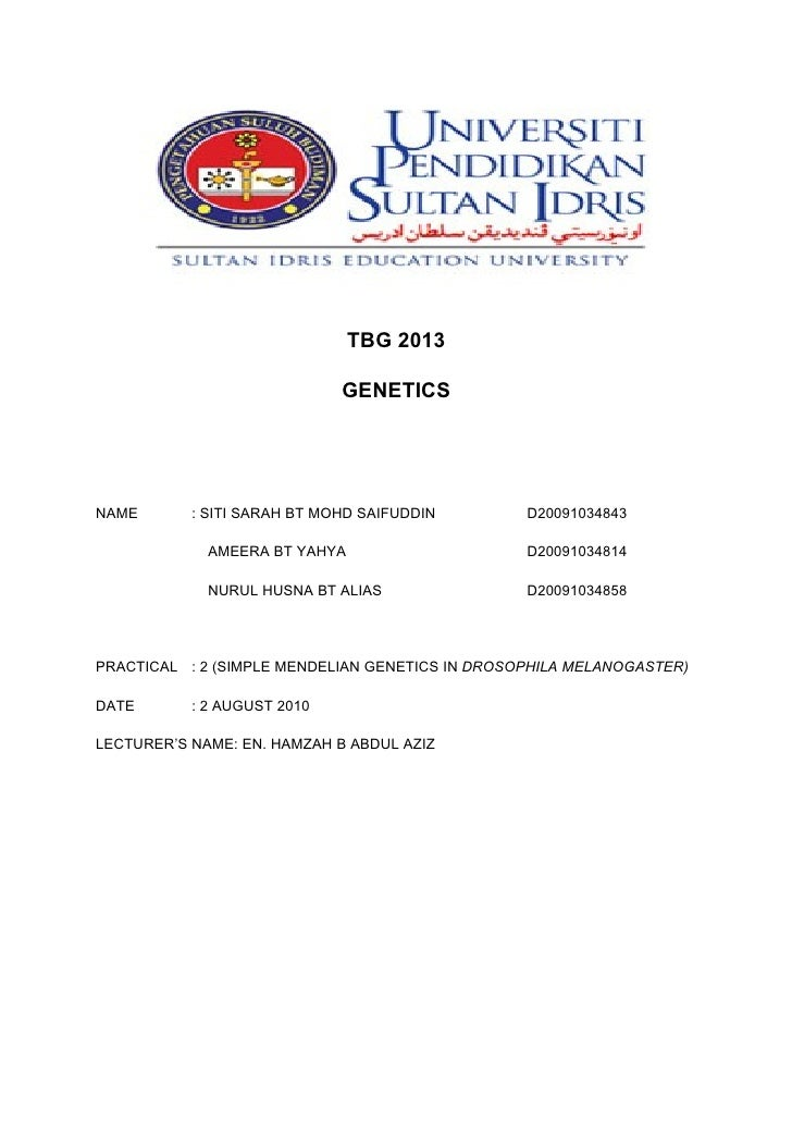 TBG 2013                               GENETICS     NAME       : SITI SARAH BT MOHD SAIFUDDIN        D20091034843         ...