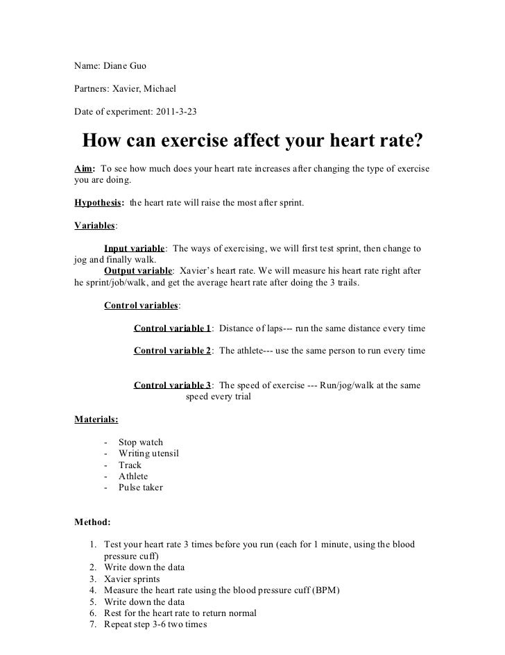 an experiment to test the effects of caffeine on blood pressure and pulse Investigating heart rate and blood pressure _____ v learn how to measure heart rate and blood pressure v test hypotheses the effects of chocolate, and the person is allergic to chocolate).