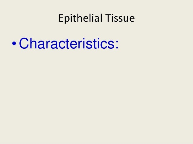 Epithelial Tissue• Characteristics: