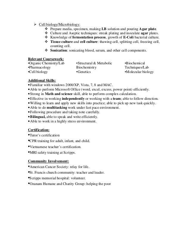 sample resume lab technician - Sample Resume For A Lab Technician
