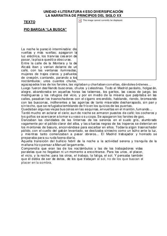 """UNIDAD 4 LITERATURA 4 ESO DIVERSIFICACIÓN  LA NARRATIVA DE PRINCIPIOS DEL SIGLO XX  TEXTO  PIO BAROJA """"LA BUSCA""""  La noche..."""